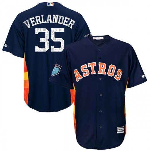 Youth Majestic Justin Verlander Houston Astros Player Replica Navy Cool Base 2018 Spring Training Jersey