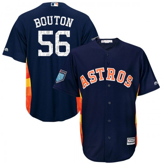 Youth Majestic Jim Bouton Houston Astros Authentic Navy Cool Base 2018 Spring Training Jersey