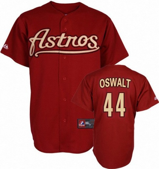 Men's Mitchell and Ness Roy Oswalt Houston Astros Replica Red Throwback Jersey