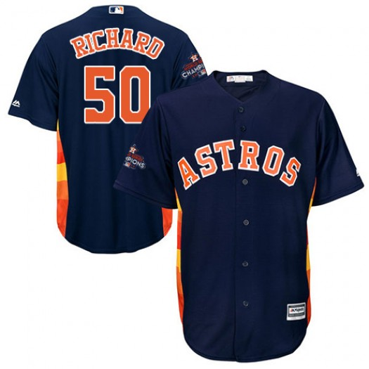 Youth Majestic J.R. Richard Houston Astros Player Authentic Navy Blue Alternate 2017 World Series Bound Cool Base Jersey